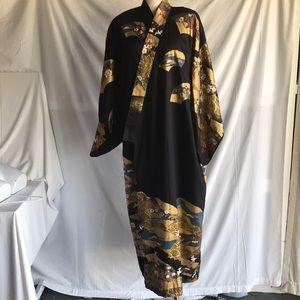 FP black / gold  cotton kimono with belt Sz M NWOT